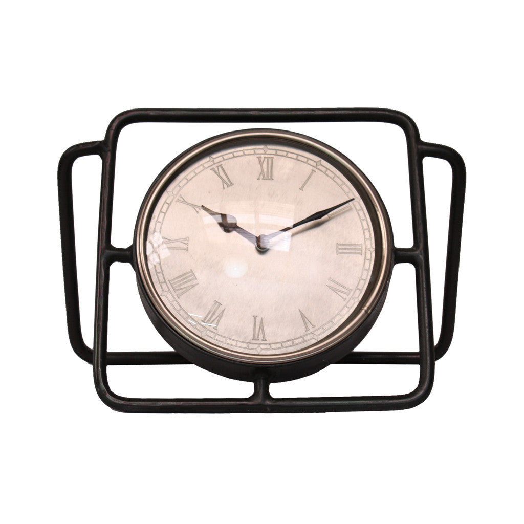 Antique Silver Table Top Clock, 35 cm W x 16 cm D x 22 cm H - Table Clocks - The Bowery