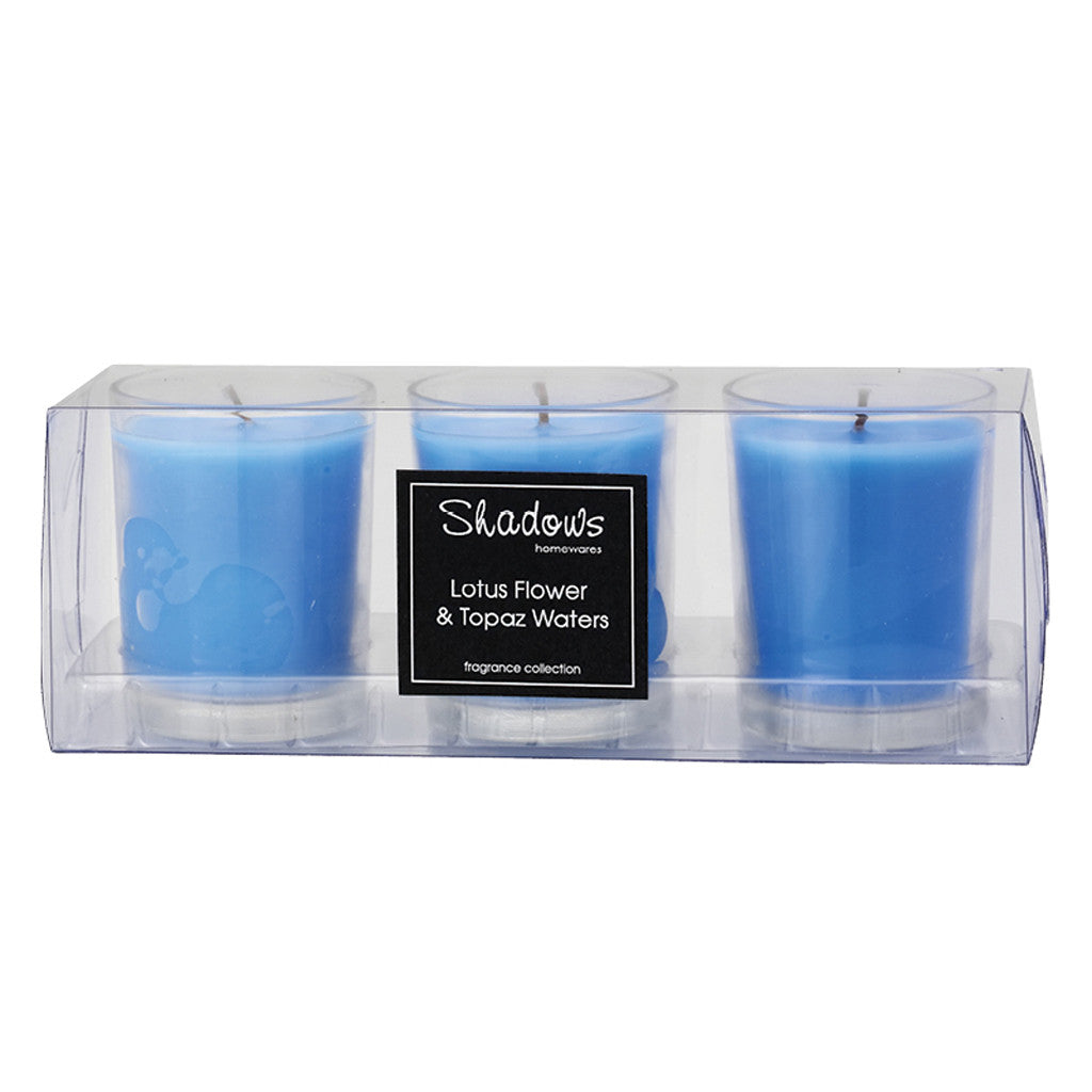 Trio Pack Lotus Flower & Topaz Water Scented Candle - Wax Candles - The Bowery - 4