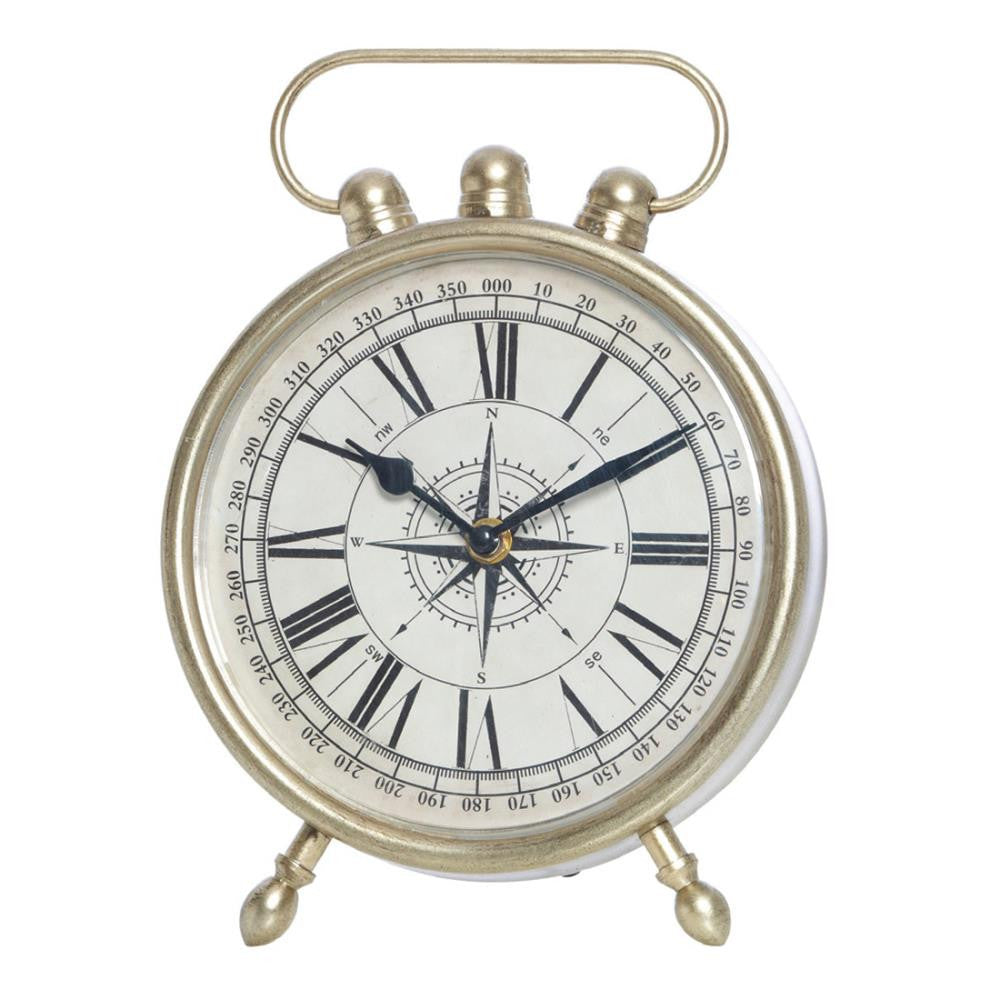 Witts Silver Metal Compass Table Clock - Table Clocks - The Bowery - 1