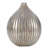 Vidette Silver Resin Ribbed Vase, 28 cm W - Vase - The Bowery