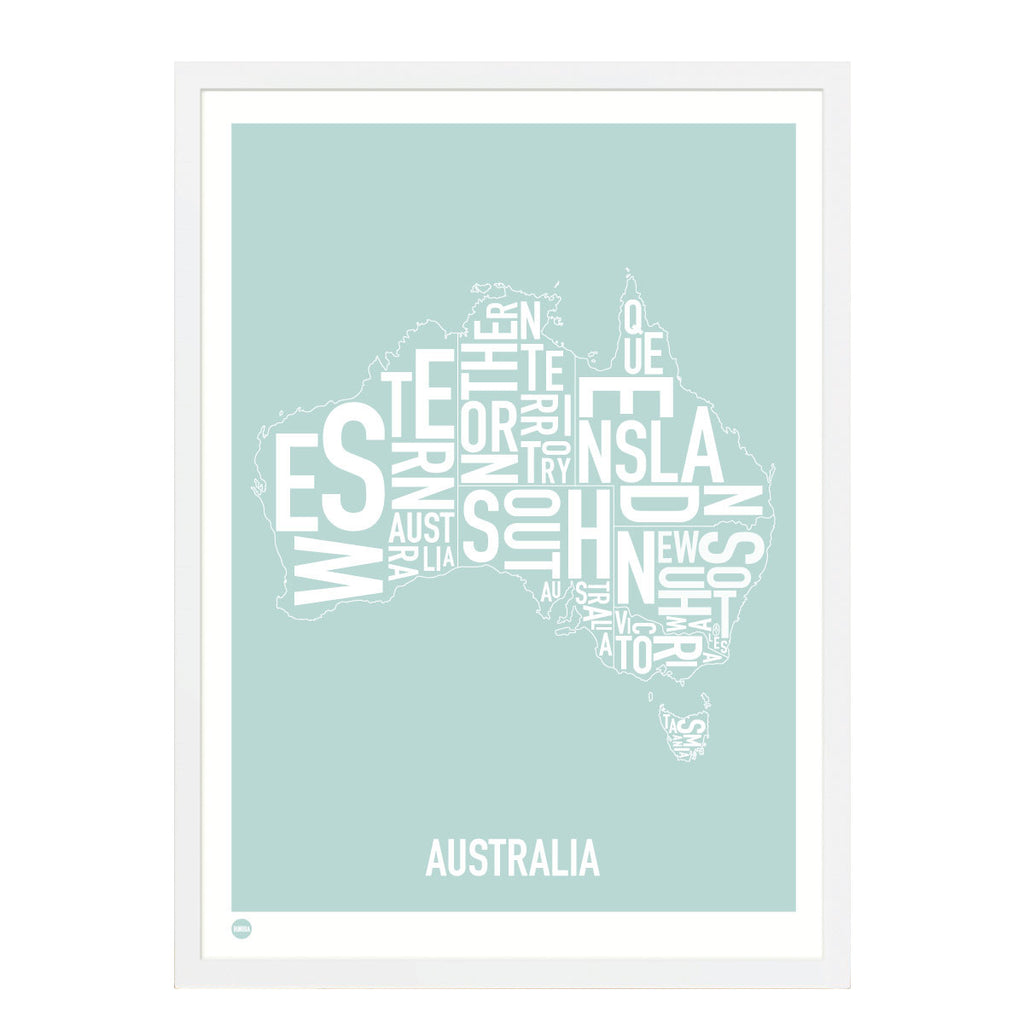 Framed Print, Australia Type Map, Duck Egg Blue , 30cm x 40cm - Typography Wall Art - The Bowery