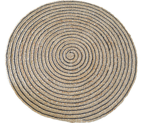 Deer Round Ring Rug Black