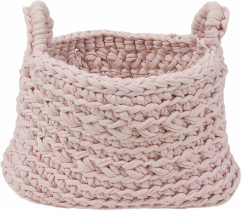 Knitted Storage Basket Dusty Pink