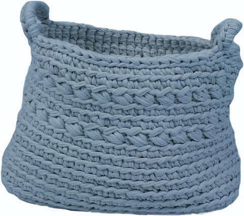 Knitted Storage Basket Petrol Blue