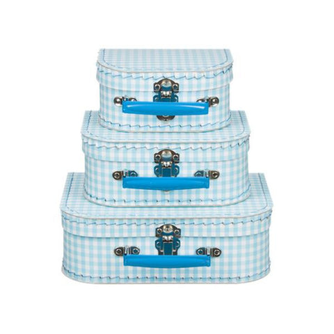 Suitcase Set Light Blue Checkered