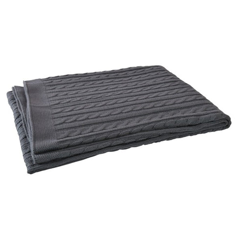 Knitted Cable Cot Blanket Anthracite