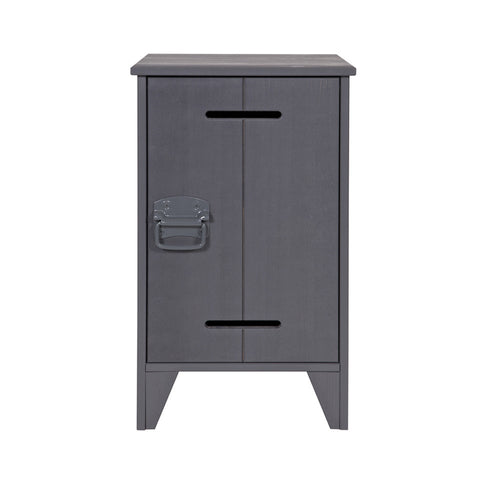 Bedside Table Steel Grey Wood