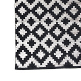 Deer Cotton Rug Black and White