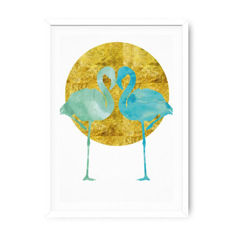 Poster 50x70 Flamingo Gold/Blue