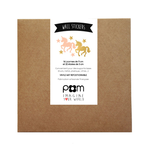Box Stickers Gold and Rose Unicorn