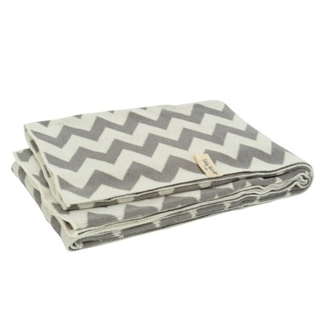 Braided Chevron Cot Blanket Grey/White