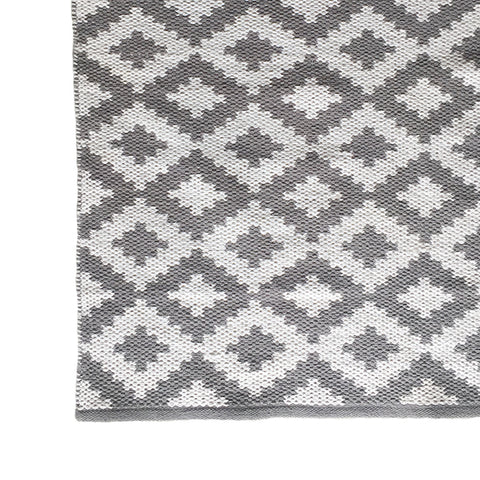 Deer Cotton Rug Grey and White