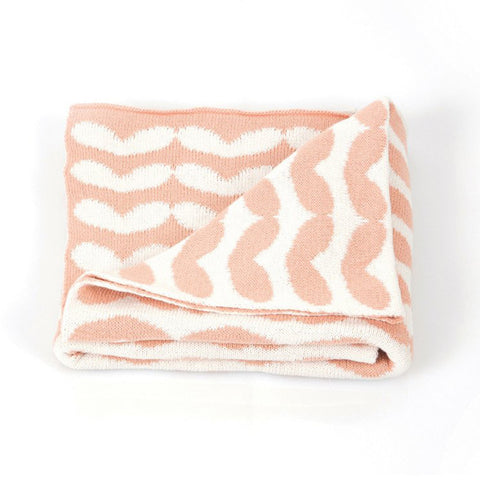 Roomblush Junior Blanket Peach Hearts