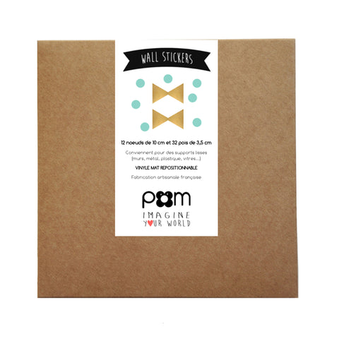 Box Stickers Gold and Mint Bows