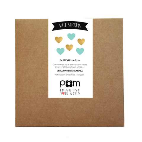 Box Stickers Gold and Mint Hearts