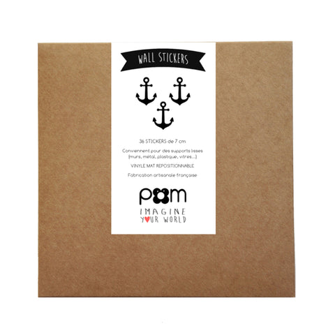 Box Stickers Black Anchors