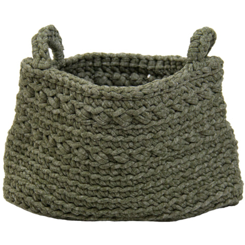 Knitted Storage Basket Olive Green