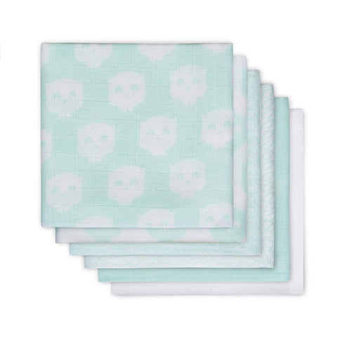 Jollein Hydrophilic Cloths 6 Pack Owl White/Mint