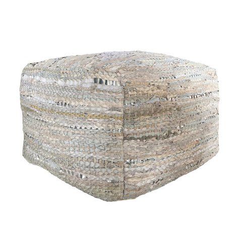 Deer Pouf Leather Beige