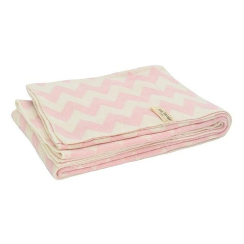 Braided Chevron Cot Blanket Pink/White