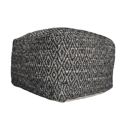 Deer Pouf Leather Grey