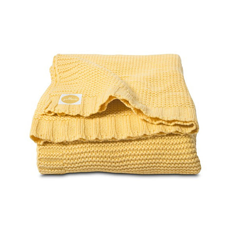 Chunky Knitted Cot Blanket Yellow