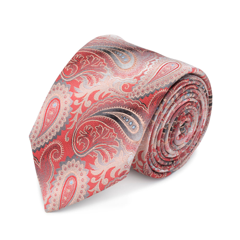Shaded Paisley Tie in Red