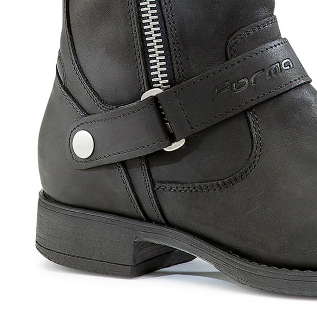 Forma Eva womens black motorcycle boots strap and zip