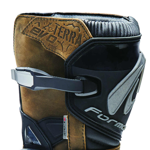 Forma Terra Evo motorcycle boots, brown shin protection