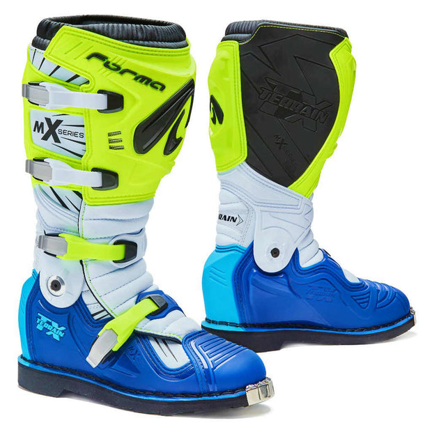 Forma Terrain TX motocross motorcycle boots neon fluro white blue
