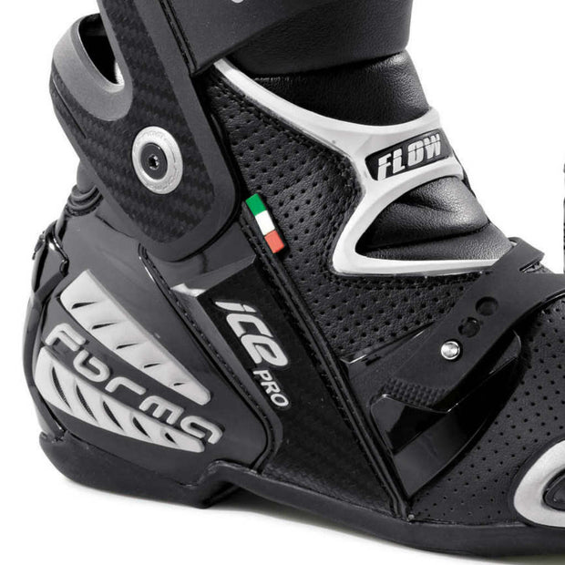 Forma Ice Pro Flow motorcycle boots black heel ankle