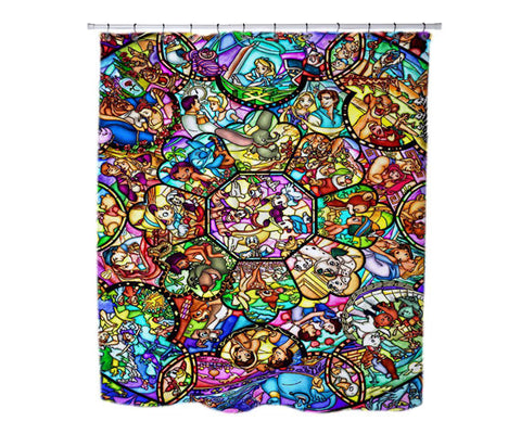 "All Disney Heroes Stained Glass custom Shower Curtains 36"" X 72"", Shower Curtains - fixcenters, fixcenters"