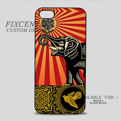 ELEPHANS OBEY - iPhone 5/5S Case iPhone 5 / Plastic / Black, iPhone 5/5S Case - fixcenters, fixcenters  - 1