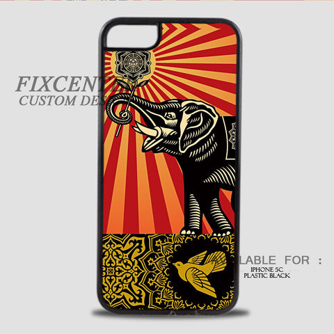 ELEPHANS OBEY - iPhone 5C Case Plastic / Black, iPhone 5C Case - fixcenters, fixcenters  - 1