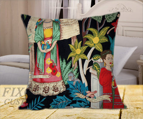 "Frida Kahlo Decorative on Square Pillow Cover 16"" X 16"" / one side, Square Pillow Case - fixcenters, fixcenters"