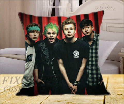 "5SOS Ashton Michael Luke Calum on Square Pillow Cover 16"" X 16"" / one side, Square Pillow Case - fixcenters, fixcenters"