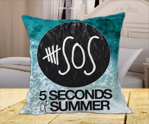 "5 Second Of Summer Logo  on Square Pillow Cover 16"" X 16"" / one side, Square Pillow Case - fixcenters, fixcenters"