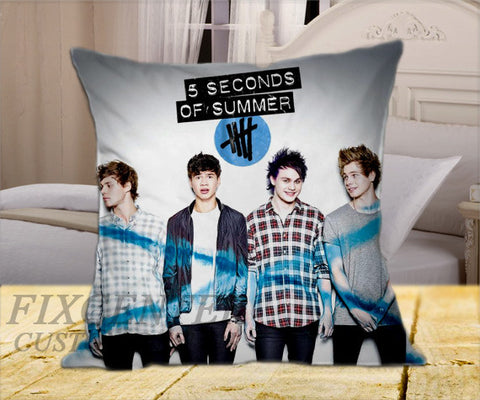 "5 Seconds of Summer Ashton Calum Luke Michael Poster on Square Pillow Cover 16"" X 16"" / one side, Square Pillow Case - fixcenters, fixcenters"