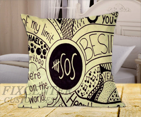 "5 Seconds of Summer BW Limit on Square Pillow Cover 16"" X 16"" / one side, Square Pillow Case - fixcenters, fixcenters"