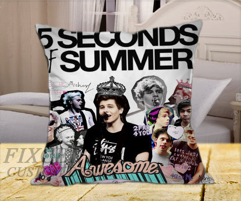 "5 Seconds of Summer Collage on Square Pillow Cover 16"" X 16"" / one side, Square Pillow Case - fixcenters, fixcenters"
