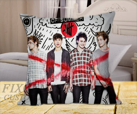 "5 Seconds of Summer Cover on Square Pillow Cover 16"" X 16"" / one side, Square Pillow Case - fixcenters, fixcenters"