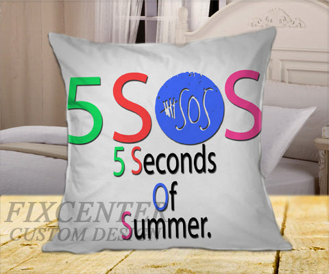 "5 Seconds of Summer in Color Words on Square Pillow Cover 16"" X 16"" / one side, Square Pillow Case - fixcenters, fixcenters"