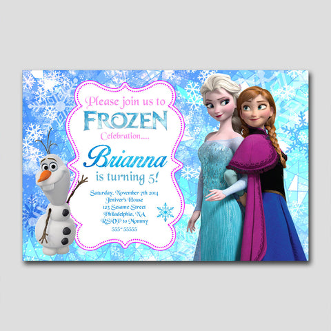 "Frozen Queen and Princess Geometrick 141 - Birthday Invitation Card 4"" X 6"", Birthday Invitation - fixcenters, fixcenters"