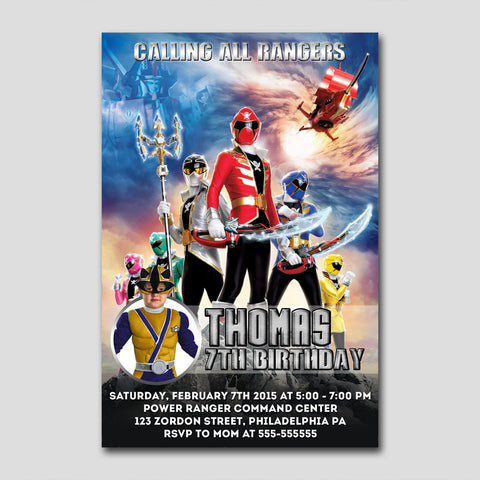 "amazing power rangers super megaforce 216 - Birthday Invitation Card 4"" X 6"", Birthday Invitation - fixcenters, fixcenters"