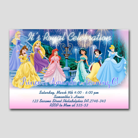 "Disney Royal Inspired Princess Celebration 370 - Birthday Invitation Card 4"" X 6"", Birthday Invitation - fixcenters, fixcenters"