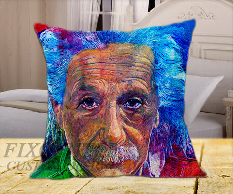 "Albert Einstein Water Color on Square Pillow Cover 16"" X 16"" / one side, Square Pillow Case - fixcenters, fixcenters"