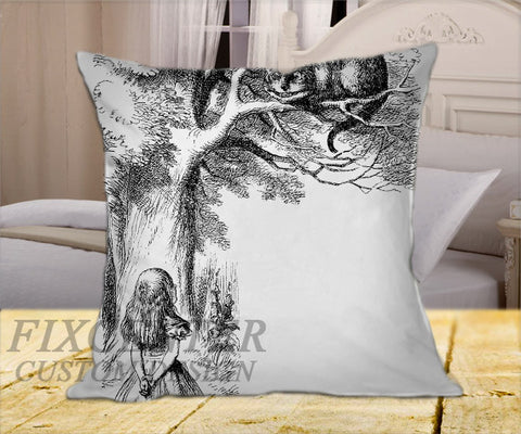 "Alice In Wonderland Sketch on Square Pillow Cover 16"" X 16"" / one side, Square Pillow Case - fixcenters, fixcenters"