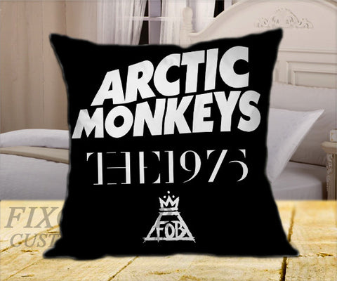 "Arctic Monkeys the 1975 The Fall Out Boy Black on Square Pillow Cover 16"" X 16"" / one side, Square Pillow Case - fixcenters, fixcenters"