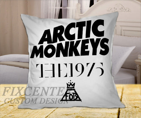 "Arctic Monkeys the 1975 The Fall Out Boy White on Square Pillow Cover 16"" X 16"" / one side, Square Pillow Case - fixcenters, fixcenters"
