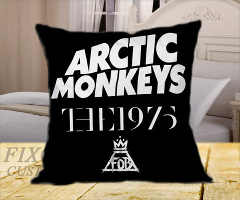 "Arctic Monkeys the 1975 The Fall Out Boy  on Square Pillow Cover 16"" X 16"" / one side, Square Pillow Case - fixcenters, fixcenters"